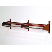 "73 3/4"" Double Hat & Coat Rack w/ Chrome Bar - Mahogany"