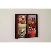 4 Pocket (2Wx2H) Acrylic & Oak Wall Display - Mahogany
