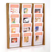 12 Pocket (3Wx4H) Acrylic & Oak Wall Display - Medium Oak