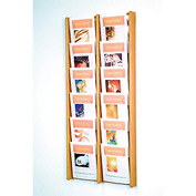 12 Pocket (2Wx6H) Acrylic & Oak Wall Display - Light Oak
