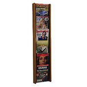 6 Pocket (6H) Acrylic & Oak Wall Display - Medium Oak