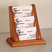 3 Pocket Counter Top Business Card Holder - Medium Oak