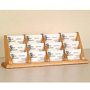 12 Pocket Counter Top Business Card Holder - Light Oak