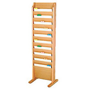 Free Standing 10 Pocket Chart Holder - Light Oak