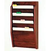 4 Pocket Chart Holder - Mahogany