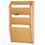 3 Pocket Chart Holder - Light Oak
