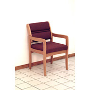 Guest Chair w/ Arms - Medium Oak/Burgundy Leaf Pattern Fabric