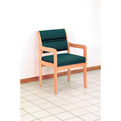 Guest Chair w/ Arms - Light Oak/Green Fabric