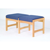 Two Person Bench - Medium Oak/Blue Vinyl