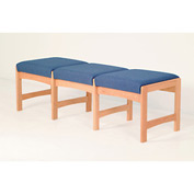 Three Person Bench - Light Oak/Blue Fabric
