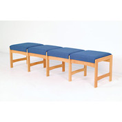 Four Person Bench - Medium Oak/Blue Vinyl
