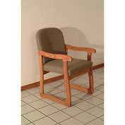 Single Sled Base Chair w/ Arms - Mahogany/Cream Vinyl