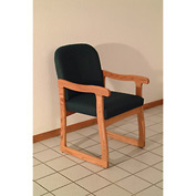 Single Sled Base Chair w/ Arms - Medium Oak/Green Vinyl