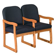 Double Sled Base Chair w/ Arms - Mahogany/Blue Vinyl