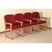 Quadruple Sled Base Chair w/ Arms - Light Oak/Burgundy Arch Pattern Fabric