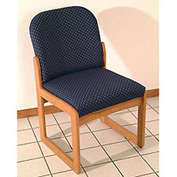 Single Sled Base Chair w/o Arms - Light Oak/Rose Water Pattern Fabric