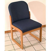 Single Sled Base Chair w/o Arms - Mahogany/Blue Leaf Pattern Fabric