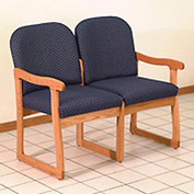 Double Sled Base Chair w/ End Arms - Light Oak/Blue Arch Pattern Fabric