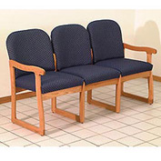Triple Sled Base Chair w/ End Arms - Light Oak/Blue Vinyl