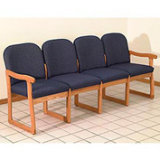 Quadruple Sled Base Chair w/ End Arms - Light Oak/Blue Vinyl