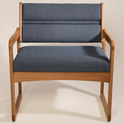 Bariatric Sled Base Chair - Light Oak/Blue Fabric
