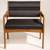 Bariatric Standard Leg Chair - Medium Oak/Blue Water Pattern Fabric