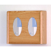 2 Pocket Glove/Tissue Box Holder - Light Oak