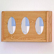 3 Pocket Glove/Tissue Box Holder - Light Oak