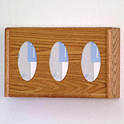 3 Pocket Glove/Tissue Box Holder - Medium Oak