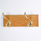 "12"" Coat Rack with 2 Brass Hooks - Light Oak"