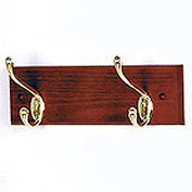 "12"" Coat Rack with 2 Brass Hooks - Mahogany"