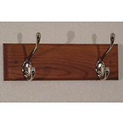 "12"" Coat Rack with 2 Nickel Hooks - Medium Oak"
