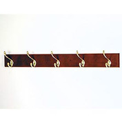 "36"" Coat Rack with 5 Brass Hooks - Mahogany"