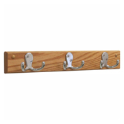 Wooden Mallet® Wall Mounted Coat Rack, 3 Double Prong Hook Rail, Nickel/Light Oak