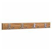 Wooden Mallet® Wall Mounted Coat Rack, 4 Double Prong Hook Rail, Nickel/Light Oak