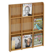 9 Magazine/18 Brochure Oak & Acrylic Wall Display - Medium Oak