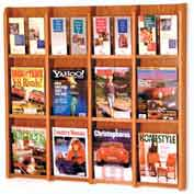 12 Magazine/24 Brochure Oak & Acrylic Wall Display - Medium Oak