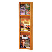 3 Magazine/6 Brochure Oak & Acrylic Wall Display - Medium Oak