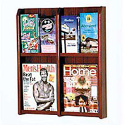 4 Magazine/8 Brochure Oak & Acrylic Wall Display - Mahogany