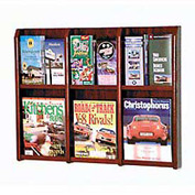 6 Magazine/12 Brochure Oak & Acrylic Wall Display - Mahogany