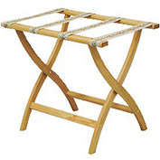 Luggage Rack w/ Convex Legs - Light Oak/Tapestry