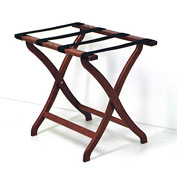 Luggage Rack w/ Concave Legs - Mahogany/Tan