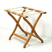 Luggage Rack w/ Concave Legs - Medium Oak/Tapestry