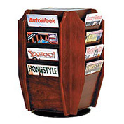 Countertop 16 Magazine Rotary Display - Mahogany