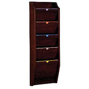 5 Pocket HIPPAA Compliant Chart Holder - Mahogany