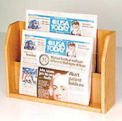 Countertop 2 Pocket Newspaper Display - Light Oak