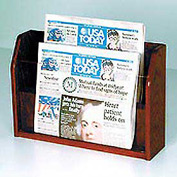 Countertop 2 Pocket Newspaper Display - Mahogany