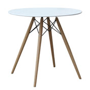 Fine Mod Imports WoodLeg Dining Table 29 Inches Fiberglass Top, White