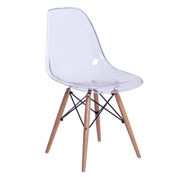 Fine Mod Imports GlossWood Dining Side Chair, Clear