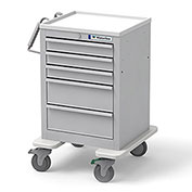 Waterloo Healthcare 5-Drawer Steel Short Economy Medical Cart, Key Lock, Light Gray